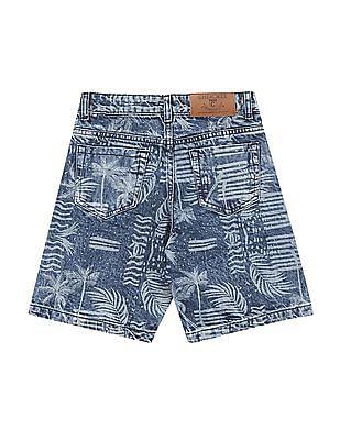 Cherokee Boys Slim Fit Printed Denim Shorts