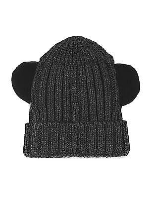 Unlimited Grey Boys Appliqued Ears Beanie