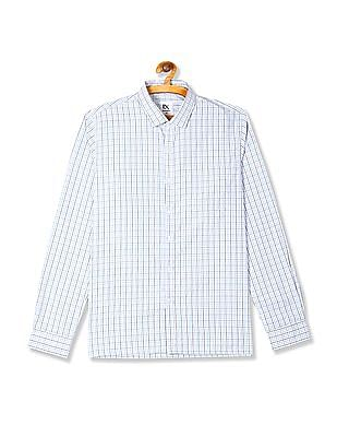 Excalibur White Long Sleeve Check Shirt