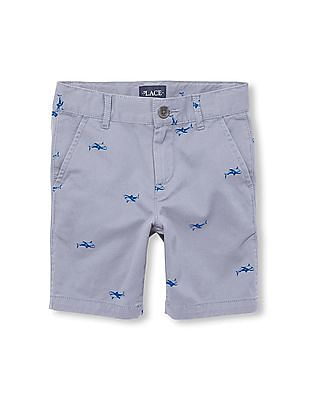 The Children's Place Boys Shark Printed Woven Chino Shorts