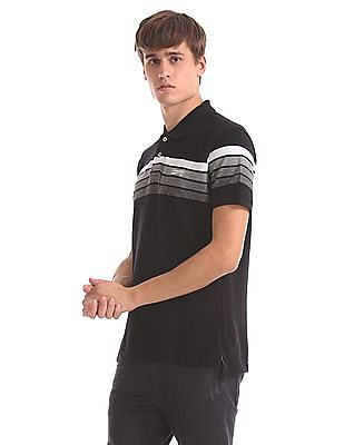 Aeropostale Striped Chest Pique Polo Shirt
