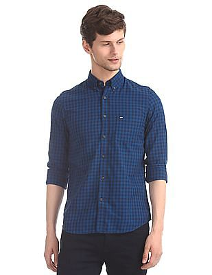 Arrow Sports Blue Mitered Cuff Tonal Check Shirt