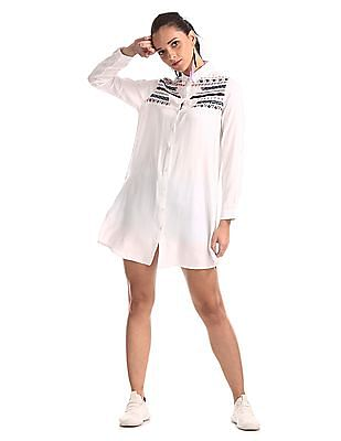 Cherokee White Long Sleeve Embroidered Shirt Dress