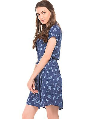 Cherokee Floral Print Belted A-Line Dress