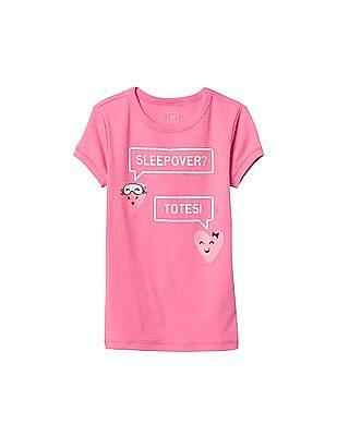 GAP Girls Pink Graphic Short Sleeve Sleep Top