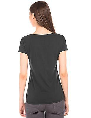 Flying Machine Women Graphic Print Round Neck T-Shirt