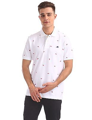 Aeropostale Regular Fit Flag Print Polo Shirt