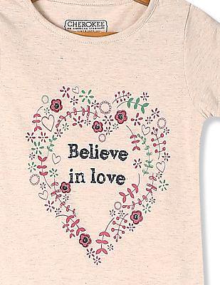 Cherokee Beige Girls Short Sleeve Printed T-Shirt