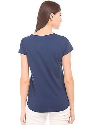 U.S. Polo Assn. Women Brand Print Regular Fit T-Shirt