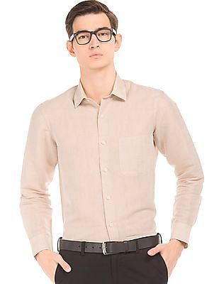 Arrow Regular Fit Cotton Linen Shirt