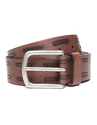 Ed Hardy Contrast Pattern Leather Belt