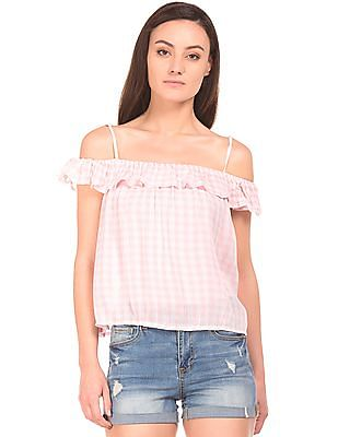 Aeropostale Cold Shoulder Check Top