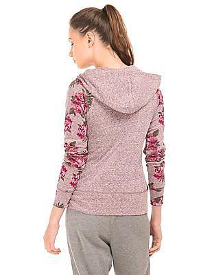 Aeropostale Hooded Floral Print Sweatshirt