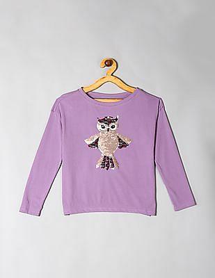 GAP Purple Girls Flippy Sequin Graphic T-Shirt