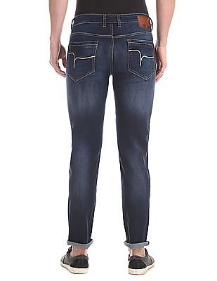 Flying Machine Blue Michael Slim Tapered Fit Faded Jeans