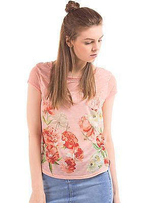 Elle Floral Print High Low Hem Top