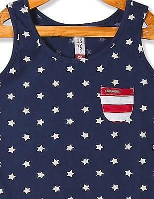 U.S. Polo Assn. Kids Girls Patch Pocket Star Print Tank Top