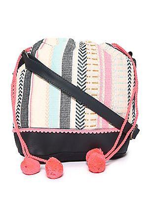 SUGR Pom Pom Trim Patterned Sling Bag