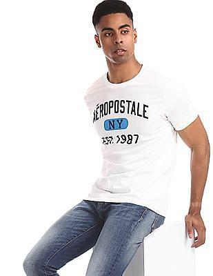 Aeropostale White Brand Print Cotton T-Shirt