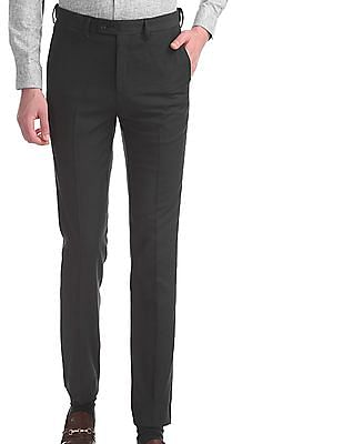 Arrow Grey Tapered Fit Patterned Weave Trousers