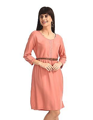 Cherokee Pink Lace Accent Solid Dress