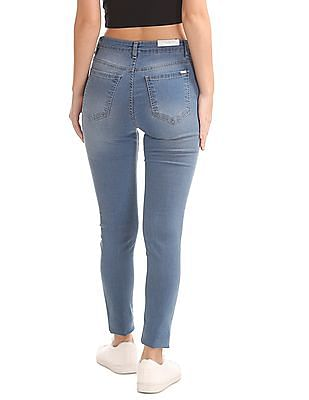 Flying Machine Women Mid Rise Stone Wash Jeans