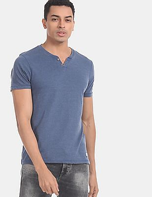 Flying Machine Men Blue Henley Neck Cotton Jersey T-Shirt
