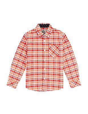 FM Boys Slim Fit Check Shirt