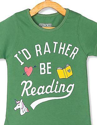 Cherokee Green Girls Printed Crew Neck T-Shirt