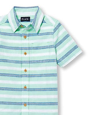 The Children's Place Boys Blue Short Sleeve Striped Oxford Shirt