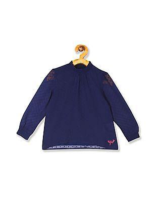 U.S. Polo Assn. Kids Blue Girls Smocked Dobby Top