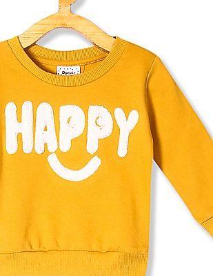 Donuts Yellow Boys Appliqued Cotton Sweatshirt