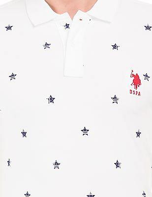 U.S. Polo Assn. Star Print Pique Polo Shirt