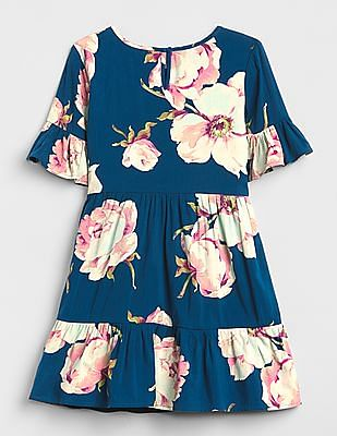 GAP Girls Floral Bell-Sleeve Tiered Dress