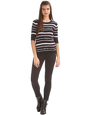 U.S. Polo Assn. Women Ribbed Knit Striped Top