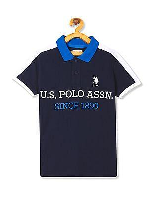 U.S. Polo Assn. Kids Boys Panelled Pique Polo Shirt