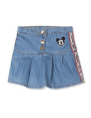 Colt Blue Girls Mickey Mouse Embroidered Pleated Denim Skirt