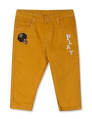 Donuts Yellow Boys Mid Rise Woven Trousers
