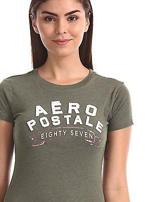 Aeropostale Green Crew Neck Brand Applique T-Shirt