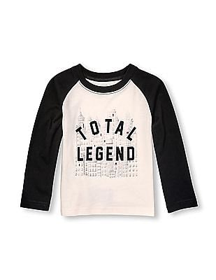 The Children's Place Toddler Boy Long Raglan Sleeve Glow-In-The-Dark Graphic Top