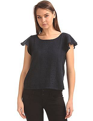 Arrow Woman Flutter Sleeve Reversible Top