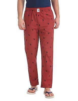USPA Innerwear Printed Drawstring Waist Lounge Pants