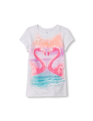 The Children's Place Girls Short Sleeve Photo Real Flamingo Love Glitter Graphic Tee