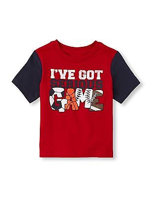 The Children's Place Baby Boy Contrast Sleeve Graphic T-Shirt