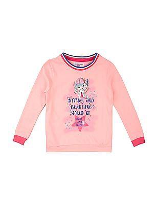 U.S. Polo Assn. Kids Girls Contrast Trim Printed Sweatshirt