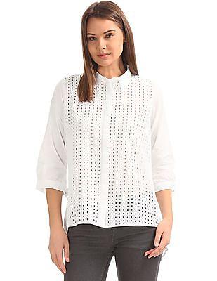 Cherokee Schiffli Embroidered Panelled Shirt