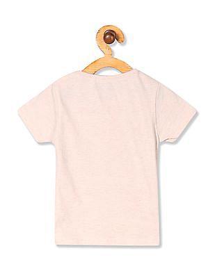 Cherokee Girls Round Neck Glitter Graphic T-Shirt