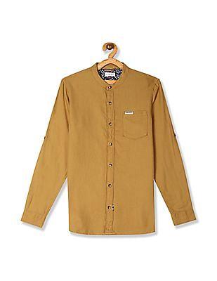 U.S. Polo Assn. Kids Yellow Boys Mandarin Collar Dobby Shirt