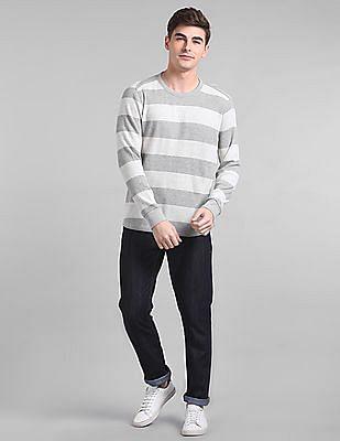 GAP Men Grey Striped Waffle Knit T-Shirt