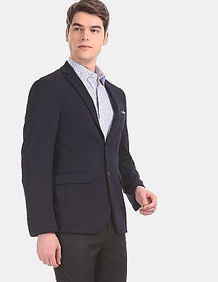 Arvind Blue Modern Slim Fit Textured Formal Blazer